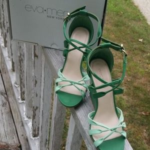 Eva Mendes Florence 2 tone green wedge heels